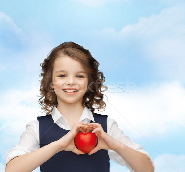 Güzel kız küçük kalp sevmek çocuklar mutluluk Stok fotoğraf © dolgachov