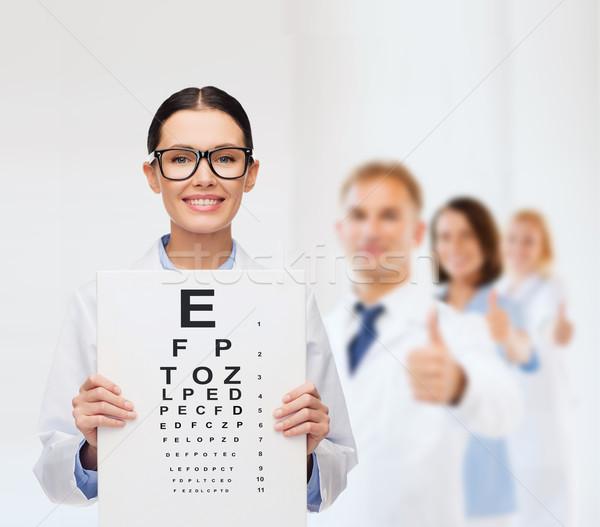 Stok fotoğraf: Kadın · doktor · gözlük · göz · grafik · sağlık