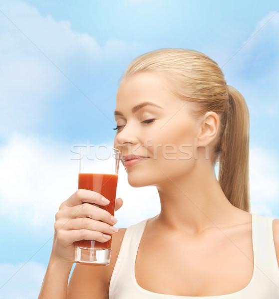 若い女性 飲料 トマトジュース 健康 ダイエット 食品 ストックフォト © dolgachov