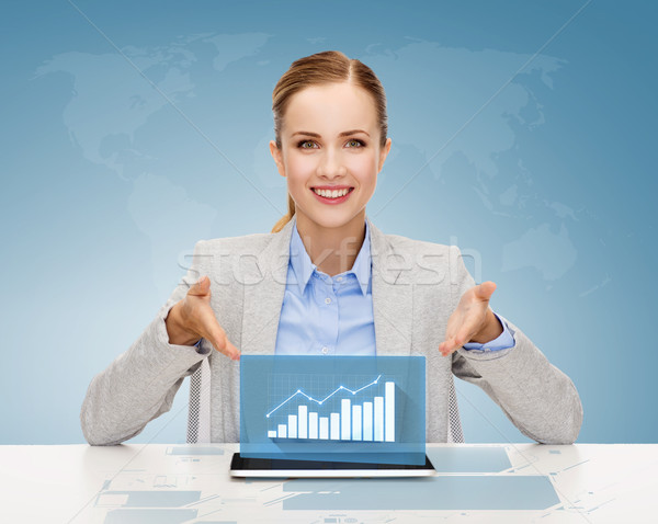smiling businesswoman with tablet pc Stock photo © dolgachov