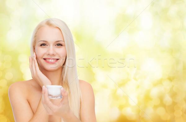 Mulher creme pele cosméticos saúde Foto stock © dolgachov