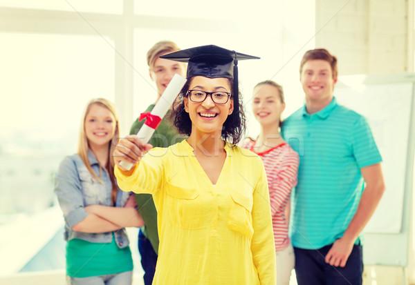 Sorridere femminile studente diploma istruzione persone Foto d'archivio © dolgachov