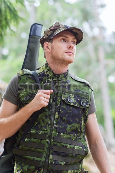 молодые солдата охотник пушки лес охота Сток-фото © dolgachov