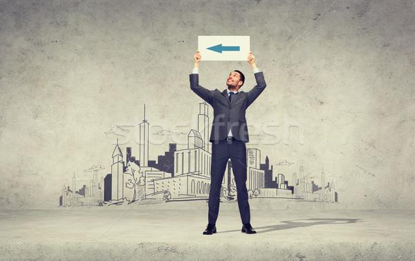 笑みを浮かべて ビジネスマン 矢印 ホワイトボード ビジネス 教育 ストックフォト © dolgachov