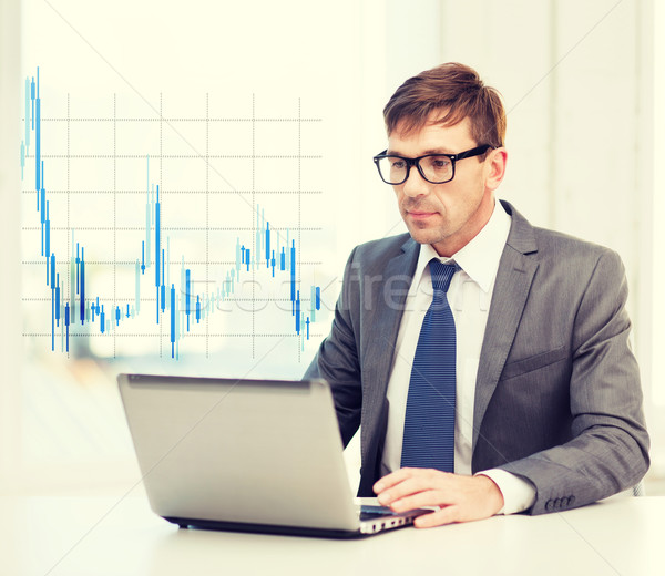 Zakenman laptop computer forex grafiek technologie geld Stockfoto © dolgachov