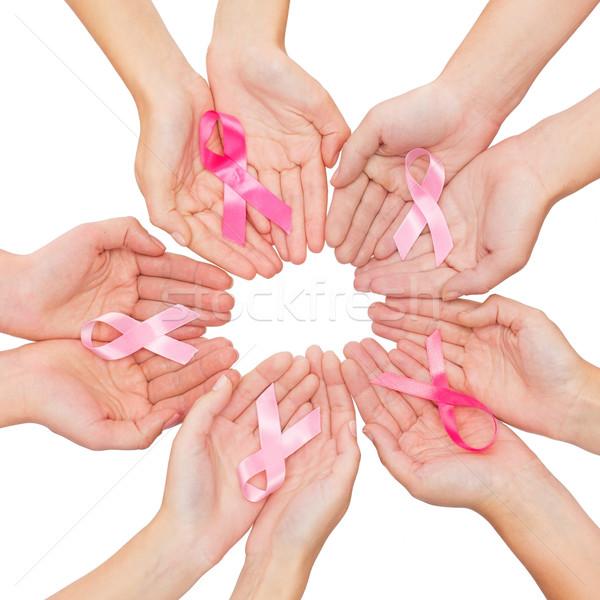 Foto stock: Mãos · câncer · consciência · símbolo · saúde