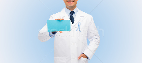 happy doctor with prostate cancer awareness ribbon Stock photo © dolgachov