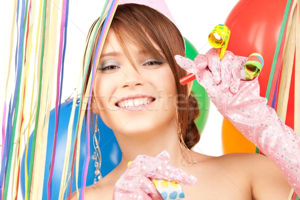 Stok fotoğraf: Parti · kız · balonlar · mutlu · kadın