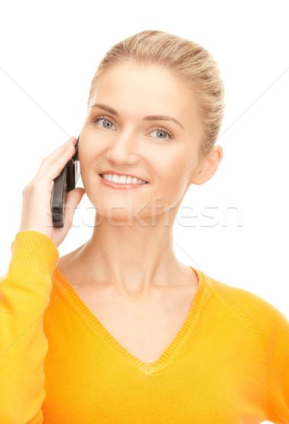 Foto d'archivio: Felice · donna · cellulare · foto · telefono · comunicazione