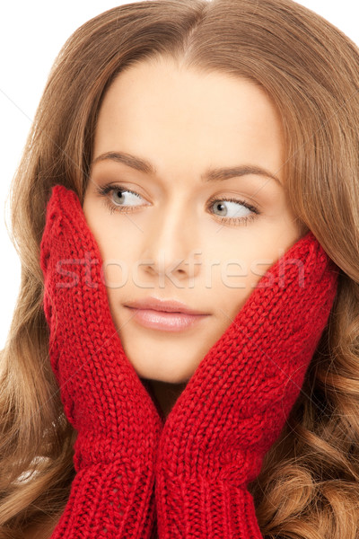 beautiful woman in red mittens  Stock photo © dolgachov
