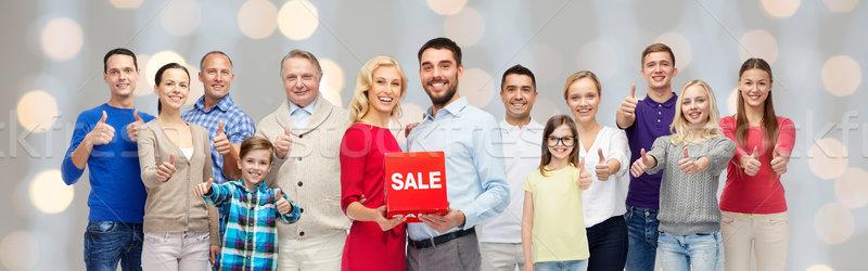 Glückliche Menschen rot Verkauf Zeichen Stock foto © dolgachov