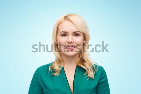 Gülen genç kadın portre kadın cinsiyet insanlar Stok fotoğraf © dolgachov