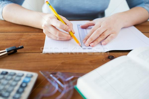 Eller cetvel kalem çizim okul Stok fotoğraf © dolgachov