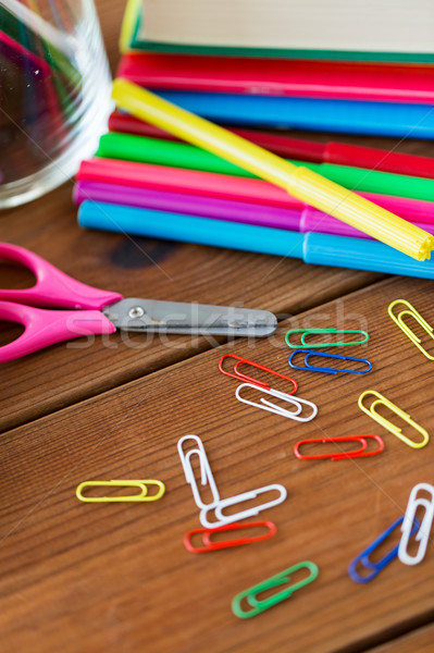 close up of felt pens, clips and scissors Stock photo © dolgachov