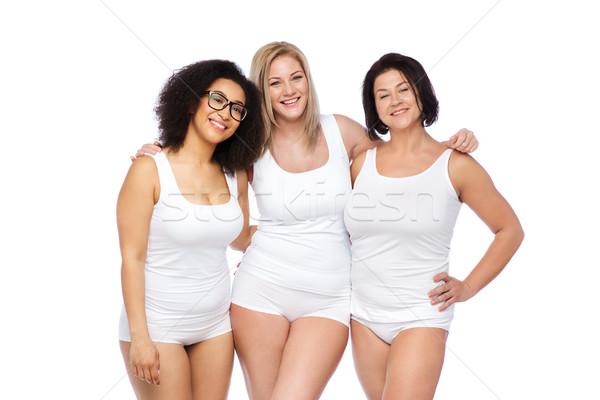 Csoport boldog plus size nők fehér alsónemű Stock fotó © dolgachov
