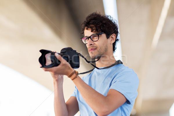 Fotograaf digitale camera schieten stad mensen fotografie Stockfoto © dolgachov