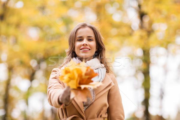 красивая женщина клен листьев осень парка сезон Сток-фото © dolgachov