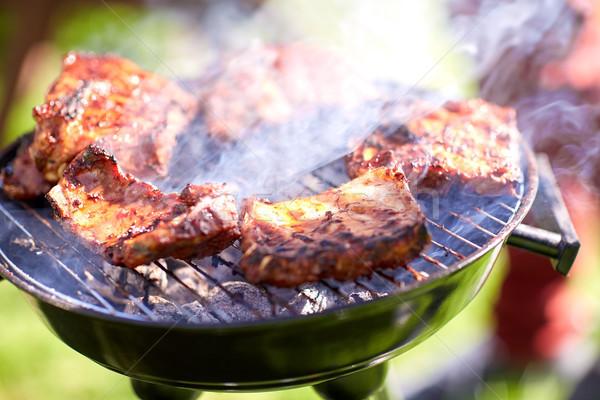 Et pişirme barbekü yaz parti gıda tatil Stok fotoğraf © dolgachov
