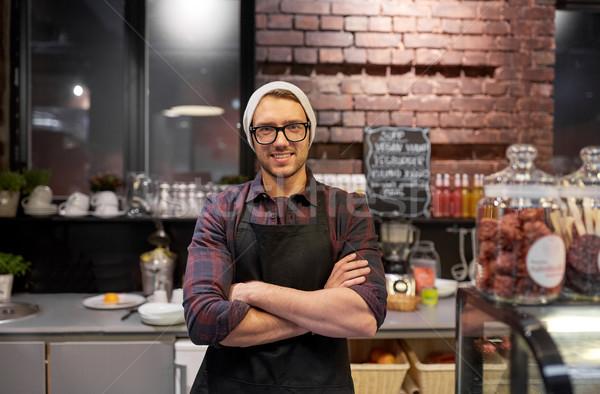 Boldog eladó férfi csapos kávézó pult Stock fotó © dolgachov