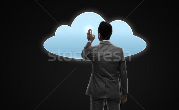 Zakenman werken virtueel wolk projectie zakenlieden Stockfoto © dolgachov