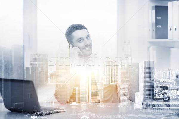 Empresario portátil oficina negocios comunicación Foto stock © dolgachov