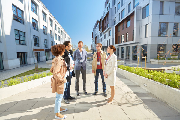 Iş ekibi konferans rozetler şehir iş eğitim Stok fotoğraf © dolgachov