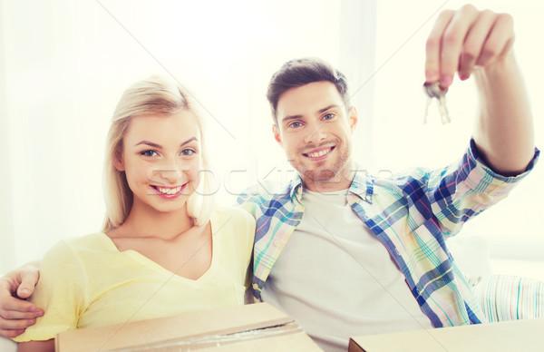 Stock fotó: Boldog · pár · kulcs · dobozok · mozog · új · otthon