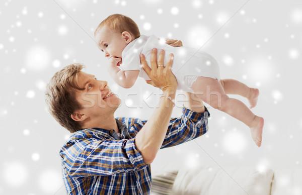 幸せ 小さな 父 演奏 赤ちゃん ホーム ストックフォト © dolgachov