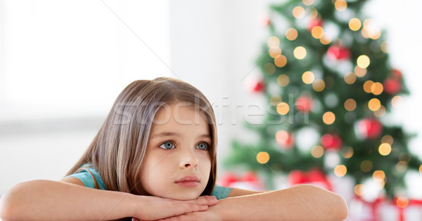 beautiful sad or bored girl at christmas Stock photo © dolgachov