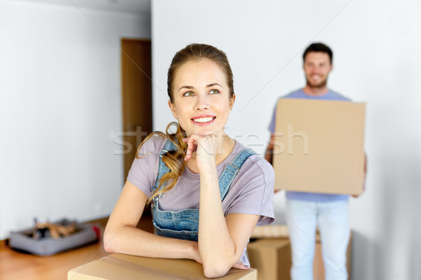 Stock fotó: Boldog · pár · dobozok · mozog · új · otthon · jelzálog