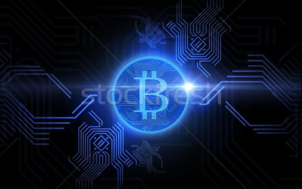 Niebieski bitcoin projekcja czarny finansów działalności Zdjęcia stock © dolgachov