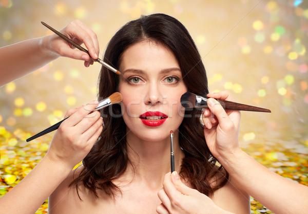 Vrouw handen make-up schoonheid mensen mooie Stockfoto © dolgachov