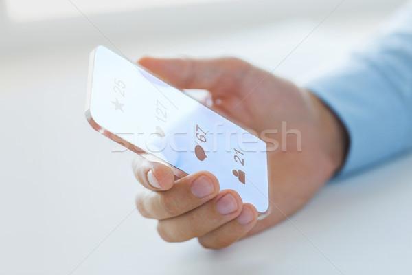 Kéz közösségi média ikonok okostelefon üzlet jövő Stock fotó © dolgachov