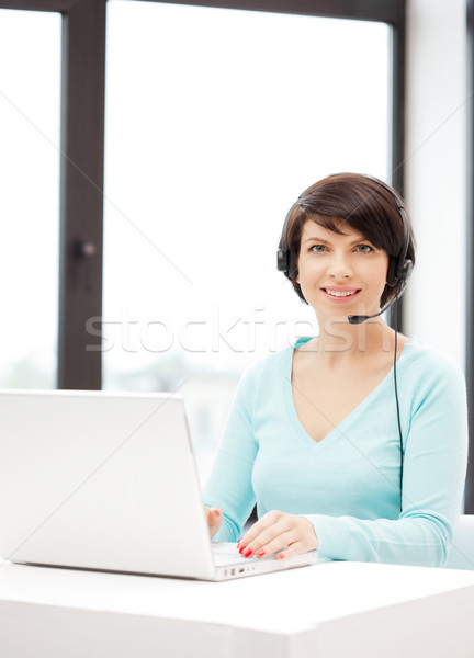 телефон доверия оператор портативного компьютера фотография бизнеса женщину Сток-фото © dolgachov