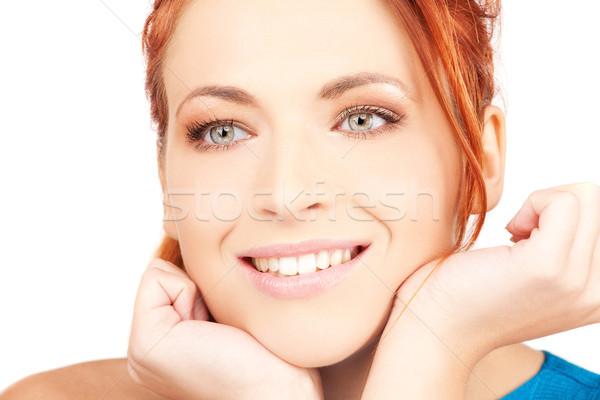 ストックフォト: 女性 · 明るい · 画像 · 白 · 手 · 顔