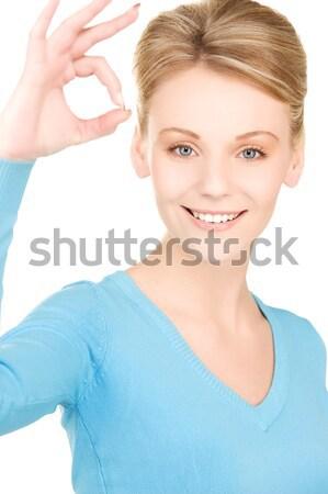 Сток-фото: счастливым · женщину · ключами · фотография · белый · улыбка