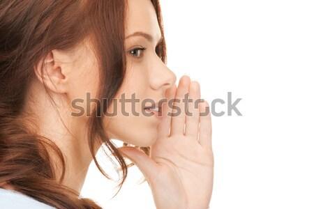 Mulher fofoca brilhante quadro mulher jovem Foto stock © dolgachov