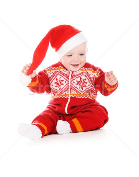 Mikulás segítő baba kép fehér gyermek Stock fotó © dolgachov