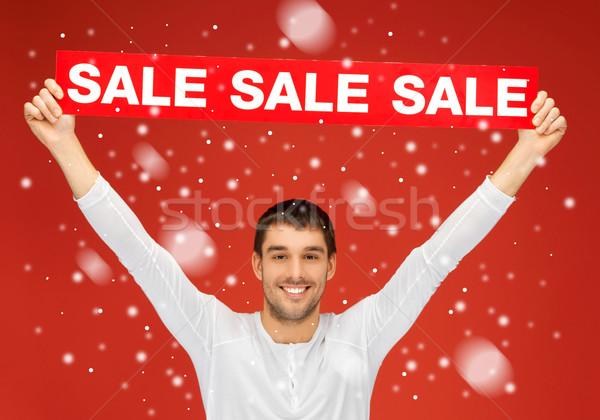 Jóképű férfi vásár felirat fényes kép férfi Stock fotó © dolgachov