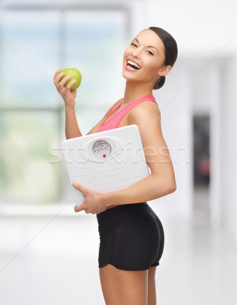 スポーティー 女性 規模 緑 リンゴ 画像 ストックフォト © dolgachov