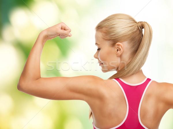 Stock fotó: Sportos · nő · mutat · bicepsz · kép · fiatal