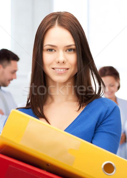 Foto d'archivio: Donna · cartelle · ufficio · business · felice · lavoro