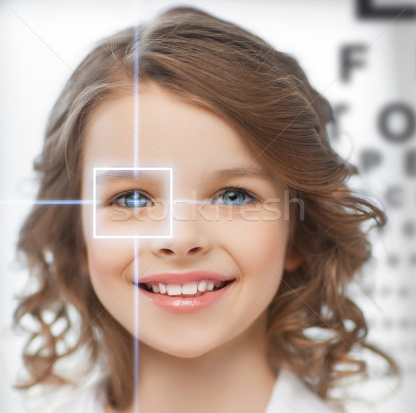 cute girl with eye chart Stock photo © dolgachov