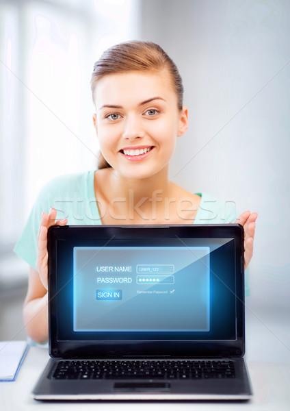 Mulher computador portátil virtual tela quadro feliz Foto stock © dolgachov