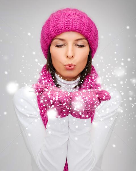 Foto d'archivio: Felice · donna · inverno · vestiti · palme