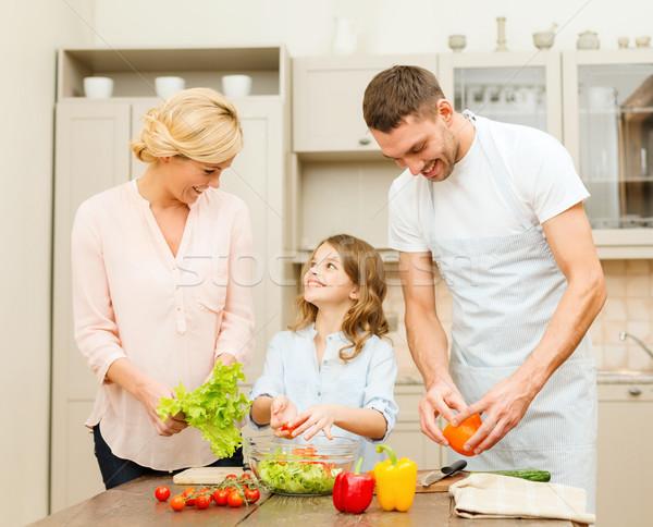 Stockfoto: Gelukkig · gezin · diner · keuken · voedsel · familie