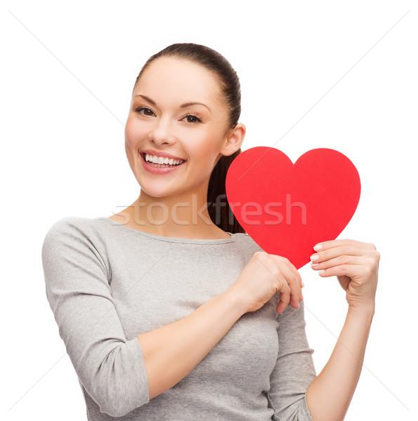 Foto d'archivio: Sorridere · asian · donna · rosso · cuore · felicità