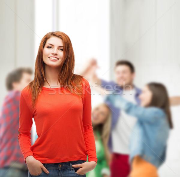 Uśmiechnięty teen girl szkoły szczęścia edukacji ludzi Zdjęcia stock © dolgachov