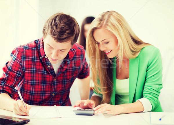 学生 数学 学校 教育 笑みを浮かべて 男 ストックフォト © dolgachov