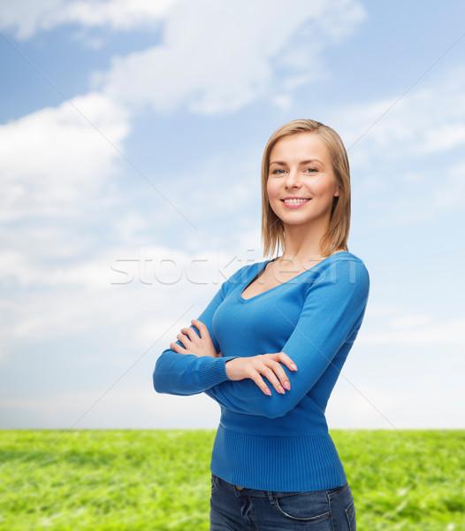 Souriant fille vêtements bonheur personnes Photo stock © dolgachov